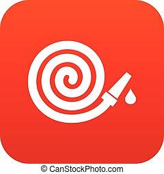 Garden hose icon digital red