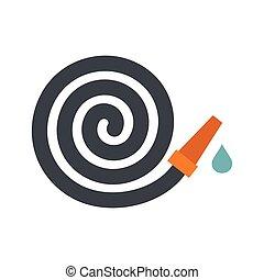 Garden hose icon, flat style