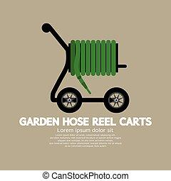 Garden Hose Reel Carts Vector Illustration