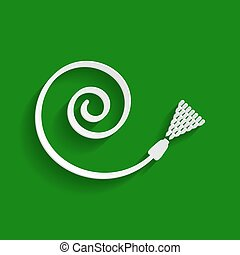 Garden hose sign. Vector. Paper whitish icon with soft shadow on green background.