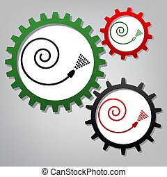 Garden hose sign. Vector. Three connected gears with icons at gr