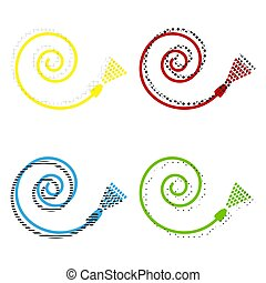 Garden hose sign. Vector. Yellow, red, blue, green icons with th