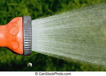 garden hose spraying water - garden hose sprayer spraying...