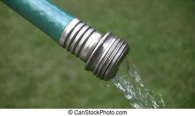 Garden hose. - Water comes out of a garden hose.