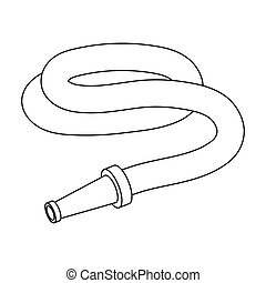 Garden hose with nozzle. Hose for watering beds.Farm and gardening single icon in outline style vector symbol stock illustration.