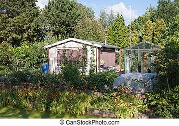 Garden house in a green environment