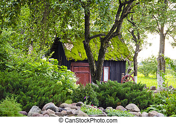 garden house mossy roof plants flowers background