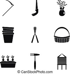 Garden icon set, simple style