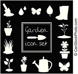 Garden icons set isolated on black background.