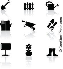 Garden icons - Set of nine black garden icons