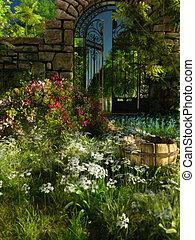 Garden Idyll, 3d CG - 3D computer graphics of a garden with ...