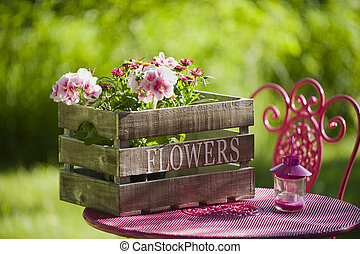 Garden idyll - Idyllic garden with table and chair