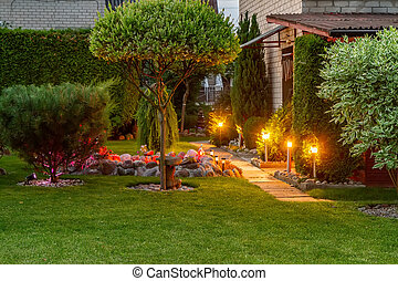Garden illuminated by lamps