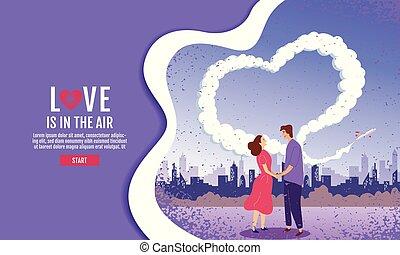 garden., illustration., amore, cielo, couples, giorno, vettore, cuoriforme, mani, valentins, presa