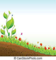 Garden - illustration of nature garden with flower plant
