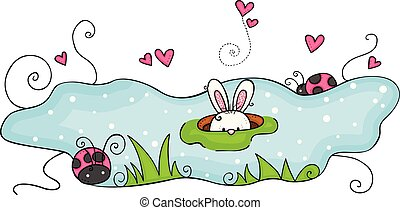 Garden illustration with bunny peeking out