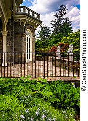 Garden in front of the Cylburn Mansion at Cylburn Arboretum in B