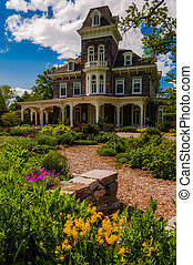 Garden in front of the mansion at Cylburn Arboretum, Baltimore, Maryland.