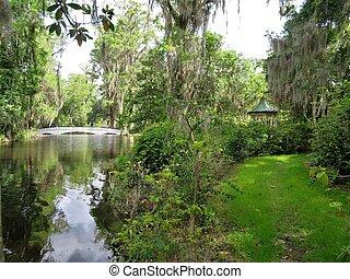 Garden in Magnolia Plantation in Charleston, SC, south Carolina