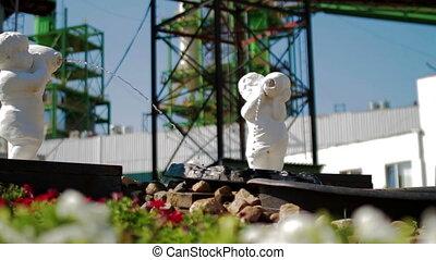 Garden in Modern Factory. Industrial view