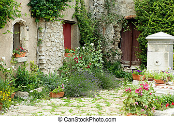 View on a typical rustic Provence garden in France