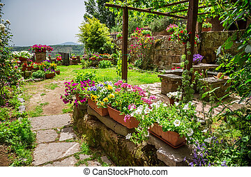 Garden in the city full of flowers
