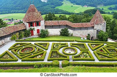 Gruyere castle - Garden in the famous Gruyere castle, ...