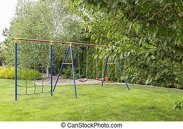Garden in the playground for children