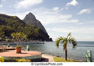 garden in Waterfront Park Soufriere St. Lucia with view of...