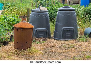 Compost bins and garden incinerator.