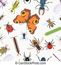 Garden insects seamless pattern. lady beetle and dragonfly,...