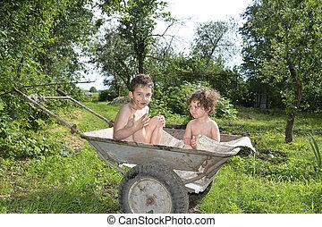 garden., irmã, sentando, irmão, carreta, pequeno