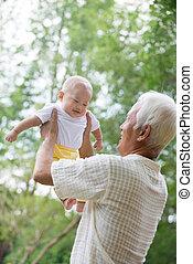 garden., külső, kínai, fiúunoka, nagyapó, ázsiai, móka, birtoklás