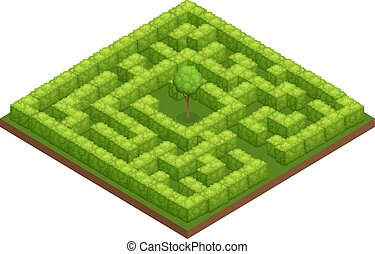 Garden Labyrinth Isometric Composition