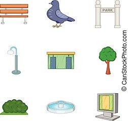 Garden landscape icons set, cartoon style