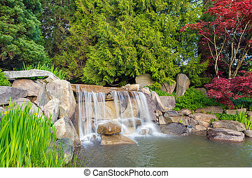 Garden Landscape with Waterfall and Trees