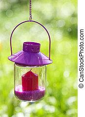 Garden lantern with nature background