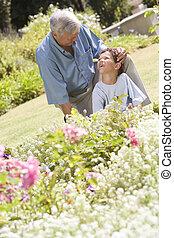 garden., lavorativo, nipote, nonno