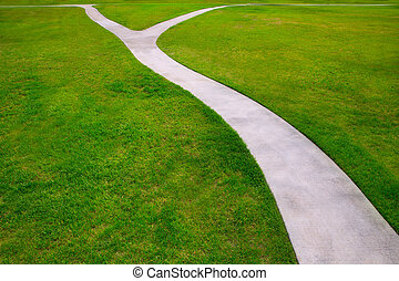 Garden lawn grass with a two option ways detour