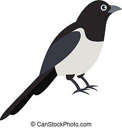 Garden magpie icon, flat style