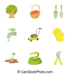 Garden maintenance icons set, cartoon style