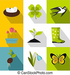 Garden maintenance icons set, flat style