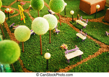 Garden miniature - detail of a garden maquette with trees...