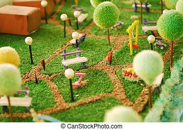 Garden miniature - detail of a garden maquette with trees...