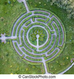 garden., natürlich, labyrinth, foto, drone., form,...