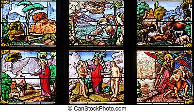 Garden of Eden, stained glass window in Church of Saint Leu Saint Gilles in Paris, France