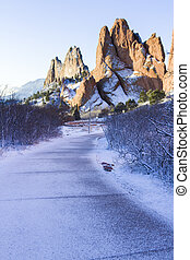 Garden of the gods after fresh snow fall.