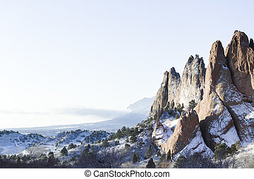 Garden of the gods after fresh snow.