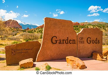 Garden of the Gods Park Entrance Sign in Colorado Springs,...