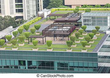 Garden on the roof concept - Nice symmetrical garden located...